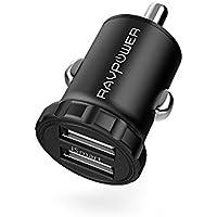 Mini Cargador de Coche 24W 4,8A de RAVPower con Aleación de Aluminio con Nueva Tecnología iSmart 2.0 para iPhone X, iPhone 8/ 8 Plus, Samsung S8, Note 8, iPad y Más