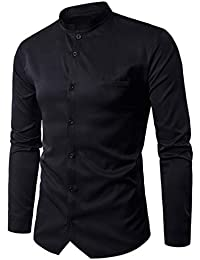 BUSIM Men's Long Sleeve Shirt Fashion Personality Buttons Casual Slim Round Neck Buttons T-Shirt Trends Tops Clearance...