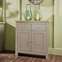 Home Source Grey Oak Sideboard 2 Door 2 Drawer Storage Cupboard Metal Handles Dorset Cabinet