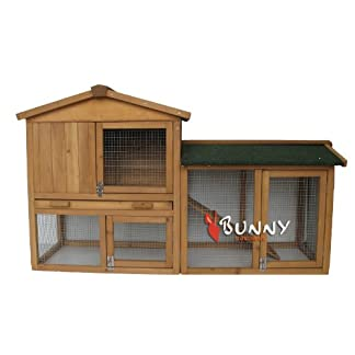 BUNNY BUSINESS The Grove Double Decker Rabbit/ Guinea Pig Hutch and Run, Brown 20