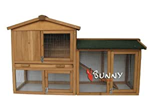 Bunny Business The Grove Clapier à deux étages avec enclos pour lapin et cochon d'Inde Brun