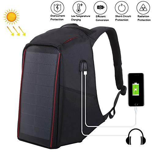 OLDWANG 12 Watt Solar Rucksack Solarpanel Solar-Panel Rucksack mit USB Ladeanschluss Stadt Ladegerät Smartphones 35L für iPhone 7 / 7s / 6s / 6, iPad Air 2 / Mini 3, TabletBlack