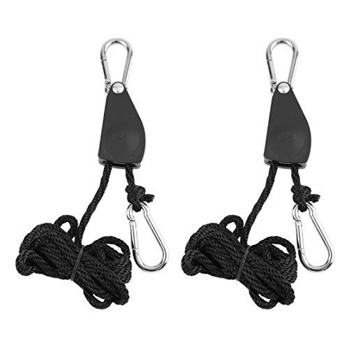 Preisvergleich Produktbild CHANNIKO-DE 1 para 1 / 4 £ Kleiderbügel Seil Ratsche 150 kg Last für Aquarium LED Pflanze wachsen Zelt Raum Fan Kohlefilter wachsen Licht (Farbe: schwarz)