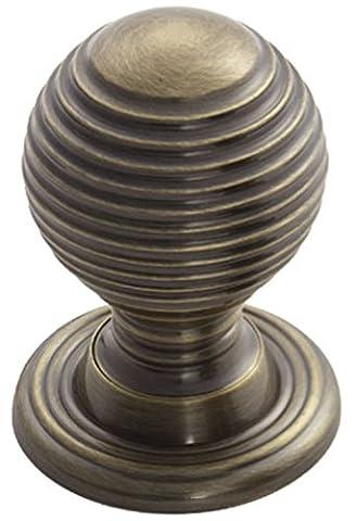 Fingertip Design Solid Queen Anne Reeded / Beehive Cabinet Cupboard Knob - Florentine Bronze (35mm Knob / 38mm Rose)