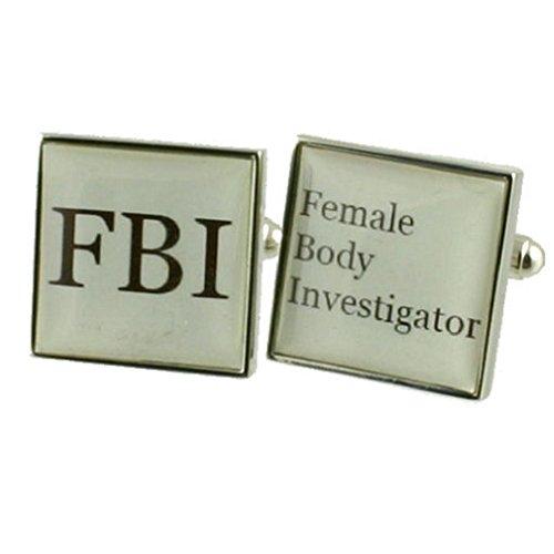 FBI Fun boutons de manchette Boutons de manchette pour hommes en argent massif 925 + Boîte Message gravé personnalisé gratuit