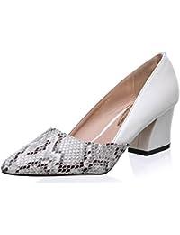 LALA IKAI Zapato de Tacón en Bloque Medio Estampado de Serpiente Talla 35-41 para Mujer Primavera