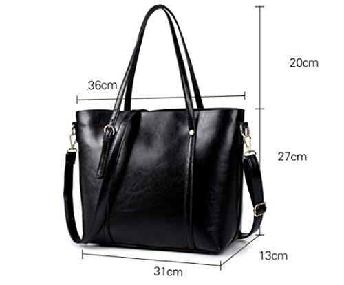 PDFGO Tote Bag Handtaschen Mode Einfache Paket PU Tasche Schulter Handtasche Handtasche Black