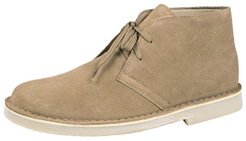 MENS BOYS FULL SUEDE LEATHER LACE UP DESERT BOOTS ANKLE DESSERT SHOES TAUPE SIZE 8