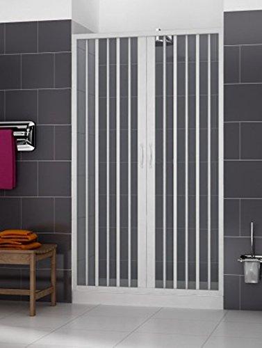 Porta doccia 100 CM PVC mod. Vergine con apertura centrale Bianco Pastello