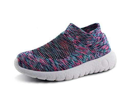JABASIC Kinder Freizeitschuhe Jungen und Mädchen atmungsaktiv gestrickt Socken Sneakers (33,Mehrfarbig) - Mesh-tennis-schuhe