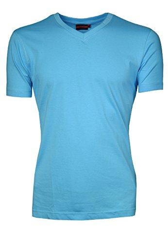 SIGNUM Herren T-Shirt mit V-Ausschnitt I 100% Baumwolle I mehrere Farben I normale Passform I Größen S - XXXL (Übergröße) Aquanus Blue