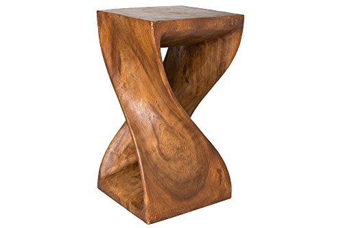 Handelsturm Gedrehter Hocker 50 x 28 x 28 cm, Sitz Blumenständer massiv Holz Design, braun