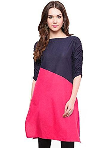Varibha Women\'s Cotton Kurti (AAIOKU00009AWO_Free Size Alterable Till 42 Or XL_Blue & Pink)