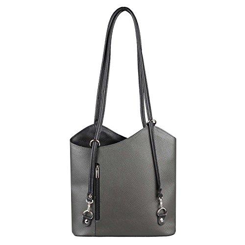 OBC Made in Italy Ledertasche Damentasche 2in1 Handtasche als Rucksack oder Umhängetasche/Schultertasche Tablet/Ipad mini bis ca. 10-12 Zoll 27x29x8 cm (BxHxT) (Dunkelblau (Lackleder)) Grau-Schwarz