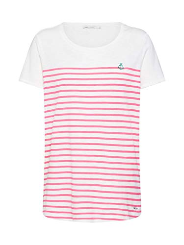 TOM TAILOR Denim Damen 1007877 T-Shirt, Mehrfarbig (Pink White Stripe 18501), X-Small - Pink Denim