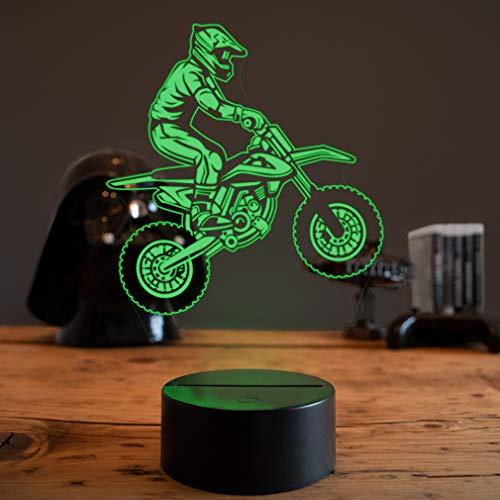 LED Deko Lampe Dirt Bike - Elbeffekt - Motocross Deko - Geschenk Moto Cross Dekoration Moto Cross