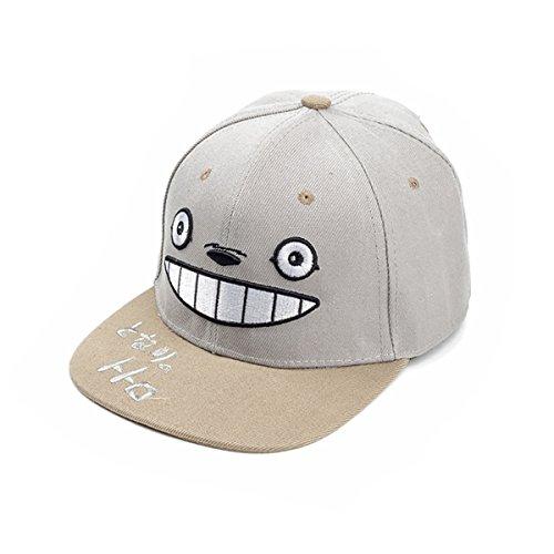 JUNG KOOK Cartoon Totoro Baseball Cap Anime Gesticktes Hiphop Hat, Herren, Grau, Einheitsgröße