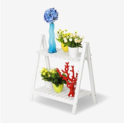 FFLHUAJIA HJHY Porte-Fleurs, Plancher en pin Deuxième étage Porte-Pot à Fleurs Étagères de Rangement Blanc 50 × 32 × 57 cm Résistant à la Corrosion, Durable
