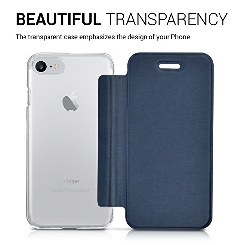 kwmobile Hülle für Apple iPhone 7 / 8 - Bookstyle Case Handy Schutzhülle Kunststoff - Flipcover Klapphülle Rosegold Transparent .Dunkelblau Transparent