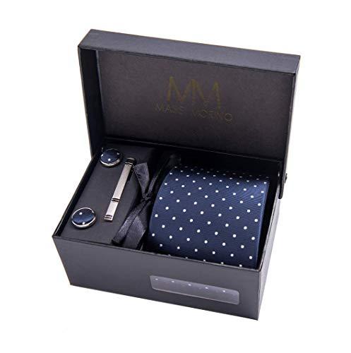 Massi Morino ® Uomo Designer Cravatta - Box Set con fazzoletto, Gemelli e Fermacravatta X cucita a mano in microfibra in colori assortiti - confezione regalo (Blu scuro puntini)
