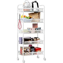 langria todos utilizar con y platzsparender Rolling Almacenamiento rack, color blanco, Metal, Color blanco, 5de animales