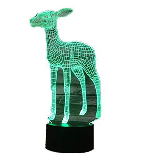 Wangzj 7 Farbwechsel Nachtlicht/Sammler 3d Led Tisch Schreibtischlampe/Kinder Nachttischlampen Lampe/Hirsch -