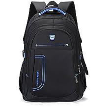 Ruanlei @ mochilas hombre casual impermeable/laptop backpack/Mochila de Negocio / Mochila Portátil Impermeable Negocios multifunción USB de alta capacidad de doble bolsa de hombro, azul de 14 pulgadas