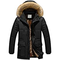 UJUNAOR Herren Baumwollmantel Herbst Winter Große Lange Mantel Baumwolljacke Reißverschluss Knopf Tasche