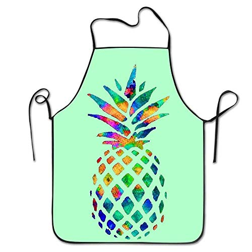 GAMSJM Personalized Kitchen Aprons Color Pineapple Cute Art Bulk Painting Bulk Machine Washable Durable String Apron for Women&Men BBQ,Cooking,Working,Grilling,Baking,Crafting