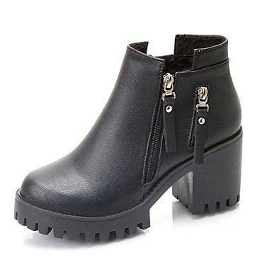 RTRY Scarpe Donna Pu Cadere La Moda Stivali Stivali Chunky Tallone Punta Tonda Zipper Per Casual Kaki Nero US8.5 / EU39 / UK6.5 / CN40