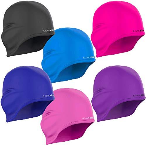 SWIM ELITE Silikon Badekappe mit Ohrenschutz, für Lange Haare (Vivid Pink)