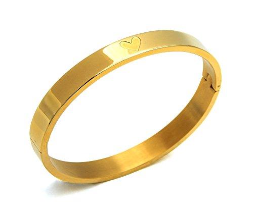 Damen Armreif Edelstahl gold Herz Prägung 8mm breit mit Schließe oval nickelfrei