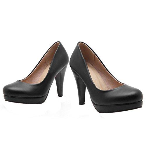 COOLCEPT Damen's Basic Office Büro Schuhe Slip on Simple Dress Heels Pumps Black