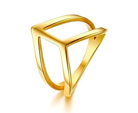 Vnox Frauen Mädchen Edelstahl Doppel V Form Midi Knöchel Band Hochzeits Verlobungsring Gold