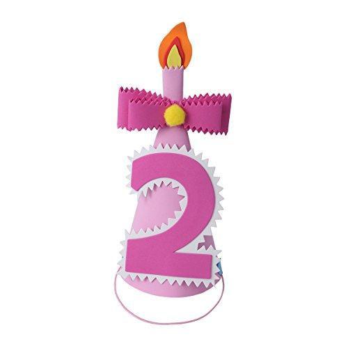 hut 2.Geburtstag mit 2 Zahlen Schleife Kerzen Kopfschmuck Geburtstagsfeier Zubehör Fotorequisiten für Mädchen (Rosa) ()