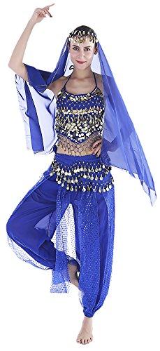 Seawhisper Aladdin Kostüm Damen Bauchtanz Kostüm Damen Blau Karnevalkostüm Oberteil Schleier Hüfttuch Hose