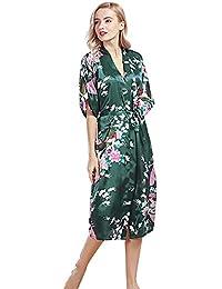 Free Fisher Kimono Peignoir Chemise de Nuit Robe de bain Femme Motif Fleurs Paon
