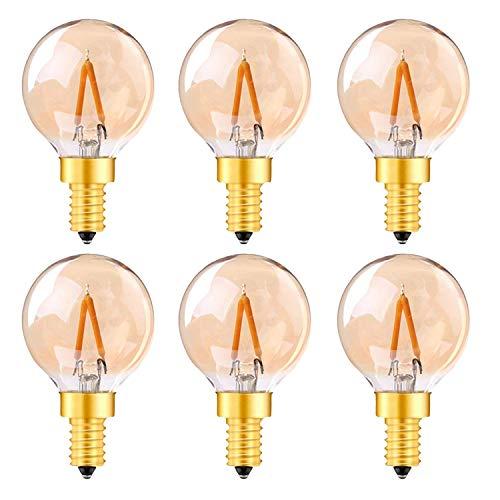 Außenbeleuchtung Ersatzlampen, Genixgreen G40 Mini Globus LED Licht E14 1W Led Birne Braunglas Vintage Edison Style 10W Ersatzäquivalent Ultra Warmweiß 2200K 6pack - 1w Led-licht