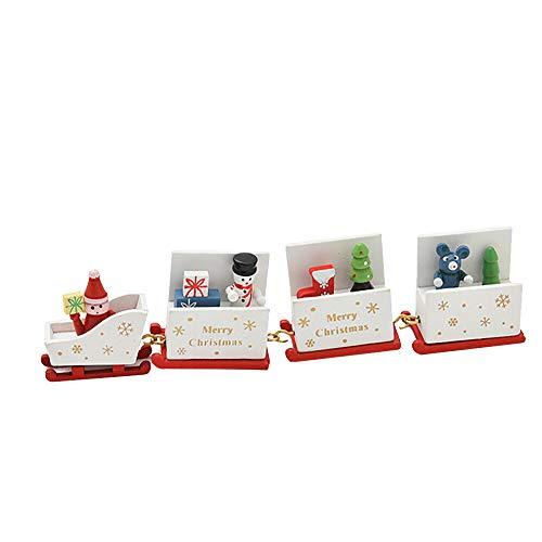 Weihnachten Romantische Dekoration, Vovotrade Weihnachtsschmuck Weihnachten Holz Kleine Zug Kinder Kindergarten Festlich Dekorationen Xmas Decor Geschenk (Weiß 1) (Weihnachten Zug Dekorationen)