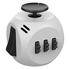 Idea Regalo - Helect Fidget Cube, Nuova Generazione 3.0 Giocattolo Fidget Cube Allevia Stress e Ansia con Disegno Portatile per Lavoro, Classe e Casa (Grigio/Nero)