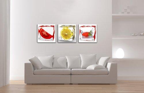 Quadro su tela cucina Frutta 150 x 50 cm 3 tele modello nr XXL 4204 ...