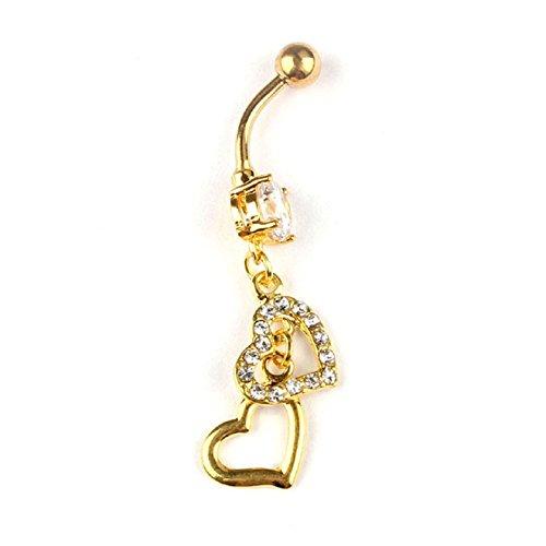 Malloom® venta caliente popular vientre inversa anillo del ombligo doble corazón colgar joyería piercing del cuerpo