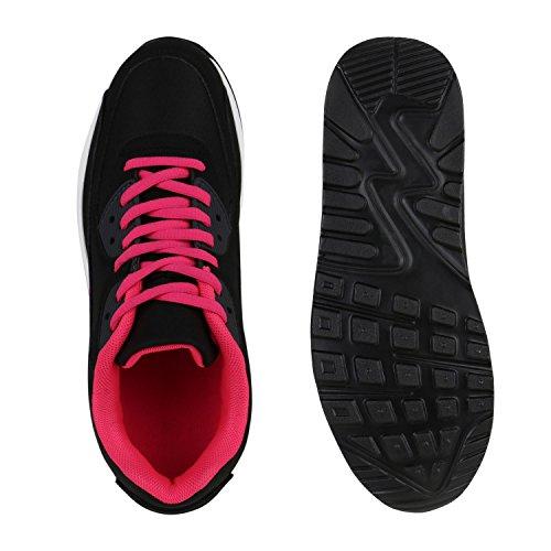 Stiefelparadies Trendige Unisex Schuhe Damen Herren Kinder Sportschuhe Metallic Camouflage Turnschuhe Blumen Sneaker Low Bunt Glitzer Muster Schnürer Flandell Schwarz All Pink