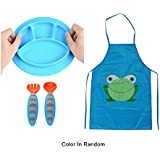 Sealive Toddler Placemat Suction Plate Microwave Safe + Childrens Artist Aprons Paint Eat Drink Aprons + 1 Set Baby Fork And Spoon Set Infant Weaning Spoons Self-feeding Flatware(Random Color)
