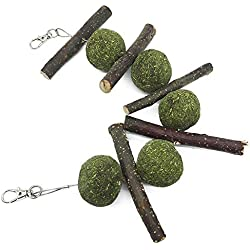 AUOKER Hamster/Bunny Chew Toys for Teeth, Organic Pet Snacks Apple Wood Sticks Branch with Double Head Suspension & Grass Balls for Bunny/Hamster/Chinchilla/India/Rabbit/Parrot Chewing