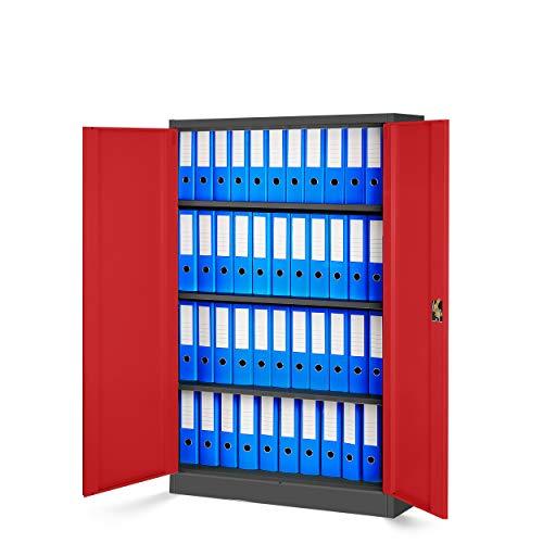 Jan Nowak by Domator24 Aktenschrank Büroschrank Metallschrank Fachböden Stahlblech Pulverbeschichtung versch. Farben und Größen fertig montiert (anthrazit/rot, 140 x 90 x 40 cm)