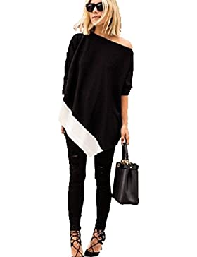 Blooming Jelly Frauen Patchwork eine Schulter lose lange Top-Mode Herbst Oversized Bluse