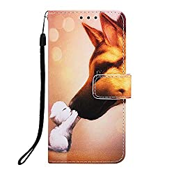 Veapero Kompatibel für Hülle iPhone 7 Plus/iPhone 8 Plus Hülle Handyhülle Schutzhülle Wallet Case Tasche PU Leder Handyschale Brieftasche Flipcase Kartenfach Stand Magnetische,Hund
