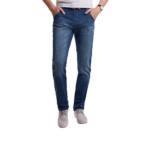 OCHENTA da uomo Stretch vestibilità dritta Jean Denim Pantaloni Blue