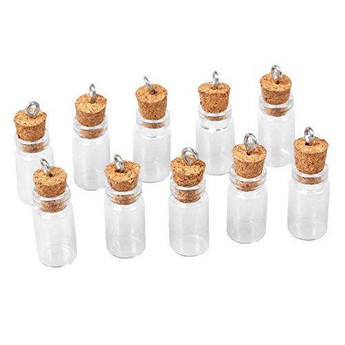 Mini Flaschen - SODIAL(R)10 Stk. Mini Leere Glas Korken Flaschen Anhaenger Charme Flaeschchen Moechten Flaschen Klar -